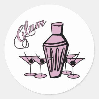 Glam Martini Mix - Pink Classic Round Sticker