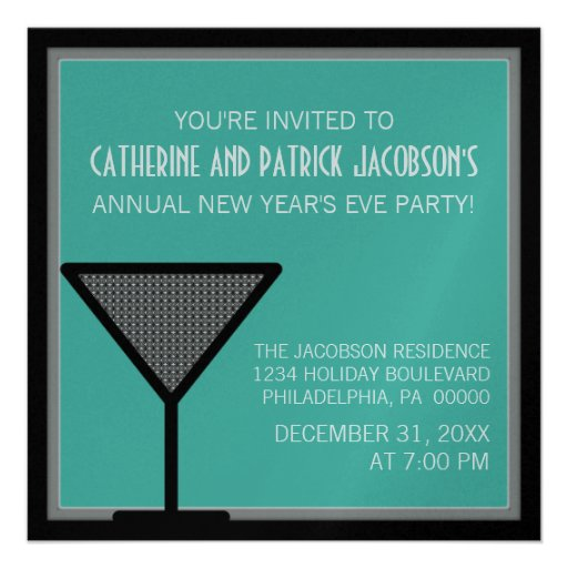 Glam Martini New Year's Invite, Teal