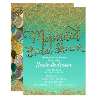 Glam Mermaid Bridal Shower Gold Glitter & Teal Card