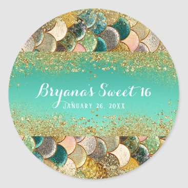 Beach Themed Glam Mermaid Gold Teal Scales Birthday Party Favor Classic Round Sticker