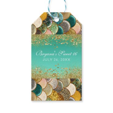 Beach Themed Glam Mermaid Gold Teal Scales Birthday Party Favor Gift Tags