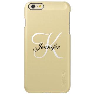 Glam Metallic Gold and White Monogram Name Incipio Feather Shine iPhone 6 Plus Case