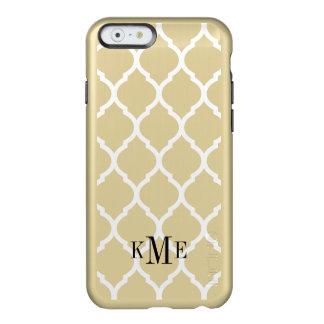Glam Metallic Gold and White Quatrefoil Monogram Incipio Feather Shine iPhone 6 Case