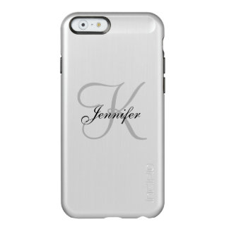 Glam Metallic Silver and Black Monogram Name Incipio Feather® Shine iPhone 6 Case