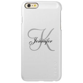 Glam Metallic Silver and Gray Monogram Name Incipio Feather Shine iPhone 6 Plus Case