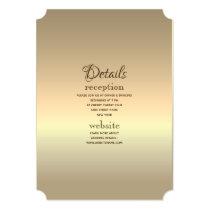 Glam Minimalist Foil Gold Elegant Wedding Details Card