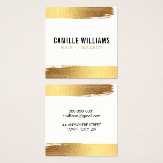 GLAM MINIMALIST luxury faux gold foil brush stroke Square Business Card