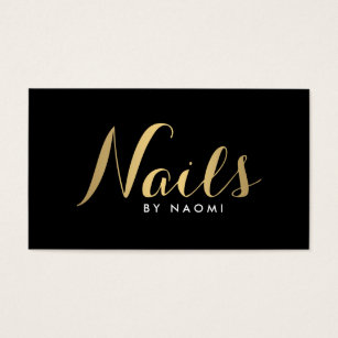 Nail technician business cards templates zazzle glam nails script text goldblack business card colourmoves Image collections