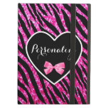 Glam Name Pink Black Zebra Glitter Heart With Bow iPad Air Covers