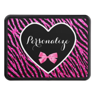 Glam Name Pink Black Zebra Glitter Heart With Bow Trailer Hitch Cover