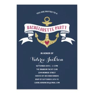Glam Nautical Bachelorette Party Card