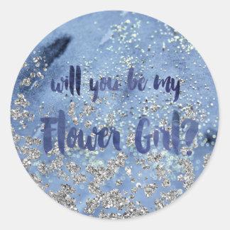 Glam Navy Blue Flower Girl Question Classic Round Sticker