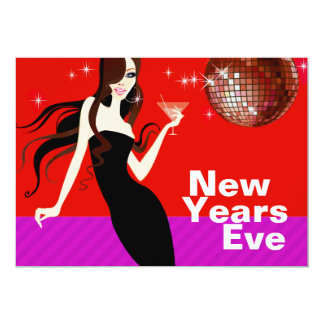 Glam New Years Eve Party - little black dress Card