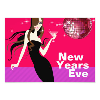 Glam New Years Eve Party - little black dress 5x7 Paper Invitation Card