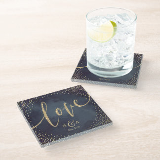 Glam night faux gold glitter calligraphy love glass coaster