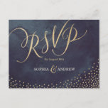"""Glam night faux gold glitter calligraphy RSVP Invitation Postcard<br><div class=""""desc"""">Glamour gold hand lettering calligraphy design and gold dots confetti on dark navy sky night watercolor background, shimmer faux metallic gold glitter effect, modern, chic, elegant and classy, perfect for vintage wedding or winter wedding in evening. Custom your own RSVP postcard for your wedding invitation set. See all the matching...</div>"""