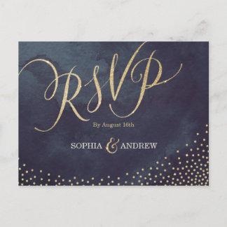 Glam night faux gold glitter calligraphy RSVP Invitation Postcard