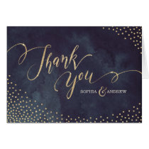 Glam night faux gold glitter calligraphy thank you