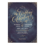 Glam Night Faux Gold Glitter Calligraphy Wedding Card at Zazzle
