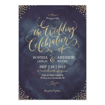 AvaPaperie Glam night faux gold glitter calligraphy wedding card