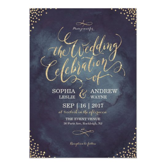 glam night faux gold glitter calligraphy wedding card - Gold Glitter Wedding Invitations