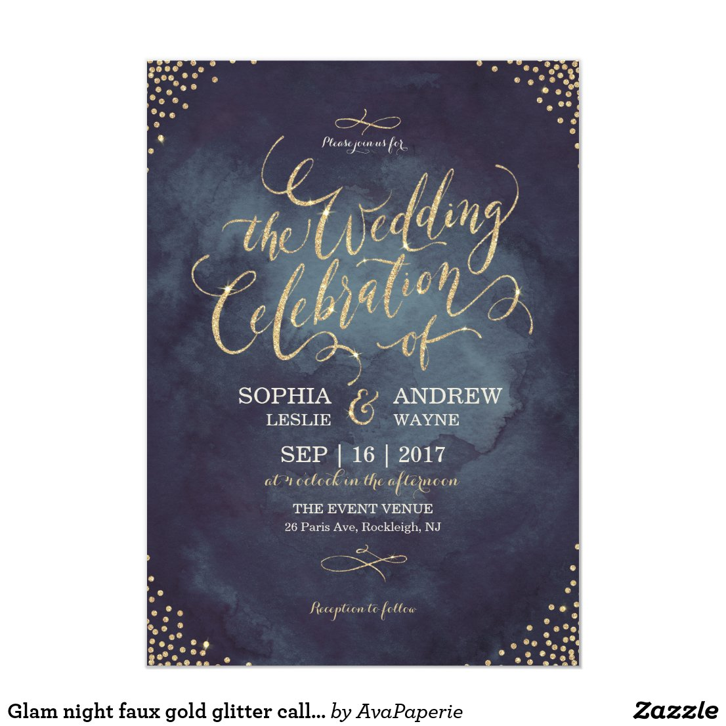 Glam night faux gold glitter calligraphy wedding invitation
