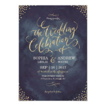 Glam night faux gold glitter calligraphy wedding invitation
