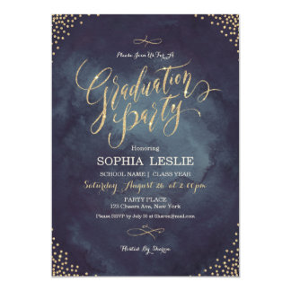 Glam night gold calligraphy graduation party card