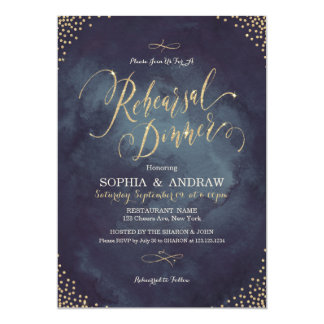 Glam night gold calligraphy Rehearsal Dinner Card
