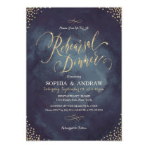 Glam night gold calligraphy Rehearsal Dinner Invitation
