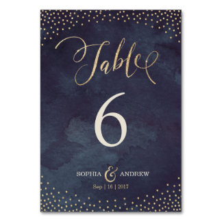 Glam night gold calligraphy wedding table number card