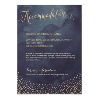 Glam night gold glitter calligraphy accommodation card