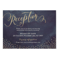 Glam night gold glitter calligraphy reception card