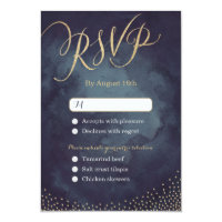Glam night gold glitter calligraphy wedding RSVP Card
