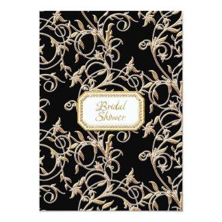 Glam Old Hollywood Regency Black Bridal Shower Card