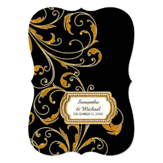 """Glam Old Hollywood Regency Black Tie Event Style 5"""" X 7"""" Invitation Card"""