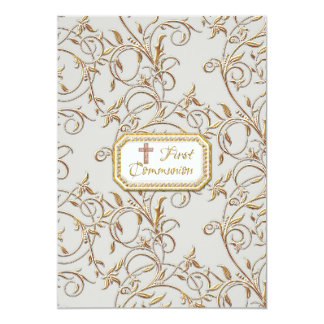 Glam Old Hollywood Regency Cross First Communion Card