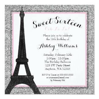 Glam Paris Themed Faux Glitter Sweet 16 Birthday Card
