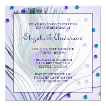 Glam Peacock Feather 40th Birthday Party Purple Card