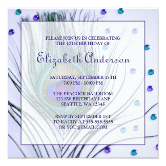 Glam Peacock Feather 40th Birthday Party Purple 5.25x5.25 Square Paper Invitation Card
