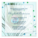 Glam Peacock Feather 40th Birthday Party Teal Custom Invite