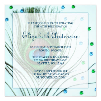 Glam Peacock Feather 40th Birthday Party Teal 5.25x5.25 Square Paper Invitation Card