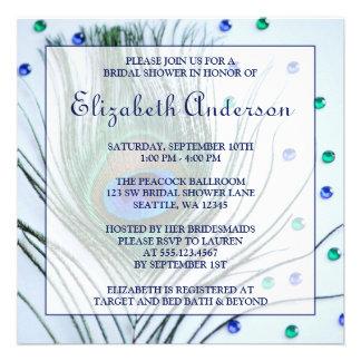 Glam Peacock Feather Blue Bridal Shower Custom Invite