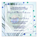 Glam Peacock Feather Blue Wedding Invitations