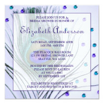 Glam Peacock Feather Purple Bridal Shower Card
