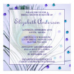 Glam Peacock Feather Purple Bridal Shower Custom Announcements