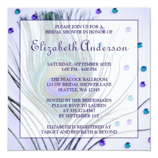 "Glam Peacock Feather Purple Bridal Shower 5.25"" Square Invitation Card"
