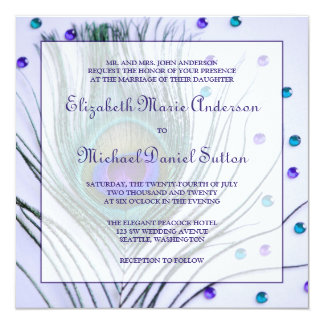 Glam Peacock Feather Purple Wedding Card