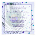 Glam Peacock Feather Purple Wedding Custom Announcement