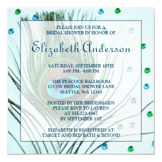 Glam Peacock Feather Teal Bridal Shower Card